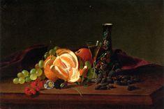 Orange, Raisins, Pansies, Wine Glass and Japanese Vase - Maria Peale (1787-1866)