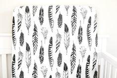 Little Woolf Fitted Crib Sheet in Black Feathers, Black + White Nursery, Woodland, Baby Boy, Baby Girl, Gender Neutral, Modern, Organic