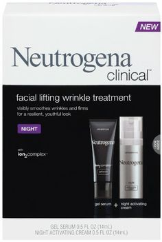 Neutrogena Clinical Facial Lifting Wrinkle Treatment, Night, 1 Ounce by Neutrogena. $18.99. ion2complex gel serum. Lifts and redefines for a youthful look. Smoothes and softens after a single use. Night activating moisturizer. Amazon.com                Transform your skin while you sleep and wake up to a firmer, more youthful look with Neutrogena Clinical Facial Lifting Wrinkle Treatment Night (1-ounce). After just a few weeks of use, this formula is clinically...