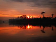Madre de Dios, Peru - sunset on this beautiful river of the Amazon Rainforest