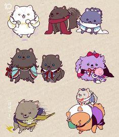 Tsurumaru ; Kashuu ; Yasusada ; Izuminokami ; Horikawa ; Kasen ; Hasebe ; Imanotsurugi ; Iwatoshi - Touken Ranbu Anime Boys, Anime Animals, Cute Animals, Mai Waifu, Touken Ranbu Characters, Nikkari Aoe, Video Game Anime, Chibi Characters, Manga