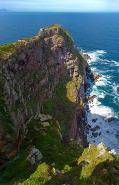 Cape Point, South Africa. Where the Indian and Atlantic ocean meet. Totally cool place!