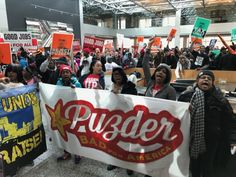 By Staff for Fight for $15. Hundreds of fast-food workers flooded the lobby of Hardee's corporate headquarters in St. Louis, Mo., this afternoon, demanding that Trump's labor nominee Andy Puzder wi...