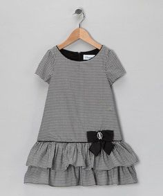 Take a look at this Black & Ivory Gingham Bow Dress - Infant, Toddler & Girls by Donita on today! Frocks For Girls, Little Girl Outfits, Little Girl Fashion, Toddler Girl Dresses, Little Girl Dresses, Kids Outfits, Toddler Girl Style, Toddler Fashion, Kids Fashion