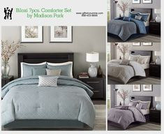 Madison Park Biloxi 7 Piece Comforter Set in Blue, Navy, Purple, Silver