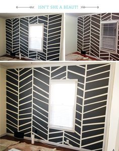 How to use tape to create pattern when painting accent wall.