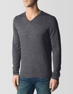 True Religion Brand Jeans, Vneck Mens Merino Sweater, charcoal, Mens : Tops : Tees & Knits, M1BA4001100