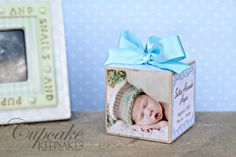 Personalized Photo Keepsake Baby Blue Polka Dots Birth Announcement Gift. $22.00, via Etsy.
