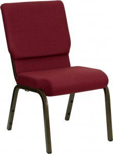Flash Furniture HERCULES Series 18.5'' Wide Purple Stacking Church Chair with 4.25'' Thick Seat - Gold Vein Frame [XU-CH-60096-GG] SKU: XU-CH-60096-GG 800 lb. Capacity Stacking Church Chair Fabric Upholstery Waterfall Seat Reduces Leg Strain 4.25'' Thick Waterfall Edge Seat Book Pouch on Back 16 Gauge Steel Frame Ganging Clamps Plastic Rocker Glides CA117 Fire Retardant Foam Availability: 12 Color(s) Available Pricing: $79.99