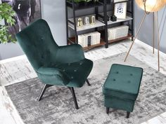 Fotel FLORI ZIELONY z pikowanego weluru na czarnej nodze - Mebel-Partner.pl Armchair, Sofa, Furniture, Home Decor, Products, Sofa Chair, Single Sofa, Settee, Decoration Home