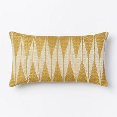 Hand-Loomed Chevron Diamond Pillow Cover - Horseradish #westelm Decortive pillow for the living room