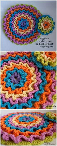 These quick and easy dish clothe patterns. Using your crochet crafting skills and some of the yarn stash you can create a lot of dish cloth patterns to wash the dishes in the kitchen with much delight.Wiggle It Crochet Trivet and Dishcloth Set