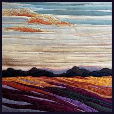 Evening Light, a work in fiber by twin artists Lisa and Lori Lubbesmeyer. The Lubbesmeyer studio is in the Old Mill District in Bend, Oregon.