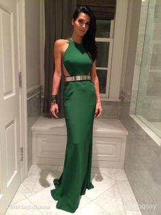 Angie Harmon wearing a Stella McCartney dress