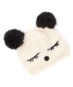 The Accessory Collective Cream & Black Mouse Ears Beanie #hat