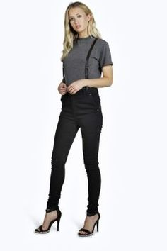 Sophia Super Skinny High Rise With Braces Jeans at boohoo.com