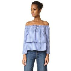 J.O.A. Stripe Shirting Blouse (275 ILS) ❤ liked on Polyvore featuring tops, blouses, off the shoulder blouse, off the shoulder shirts, blue striped shirt, off shoulder shirt and colorful striped shirt