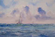 "At Sea - 7.5x11"" original watercolor painting by Jim Oberst - $100."