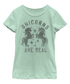 Mint 'Unicorns Are Real' Tee - Toddler & Girls