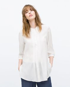 Image 2 of LARGE PIN TUCK BLOUSE from Zara
