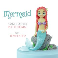 Learn how to make this Mermaid Cake Topper! This PDF tutorial includes: - 163 HIGH-QUALITY photos - detailed and EASY-TO-FOLLOW instructions - TEMPLATES (they will help you get the right proportions and shapes - see photos) Size of the topper: 16 cm (height) x 14 cm (width; with the tail