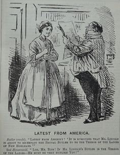 Cartoon from Punch magazine Punch the London magazine of wit, satire and political humour. Punch Magazine, Historical Dress, Maids, Satire, Butler, The Help, Cartoon, House, Women