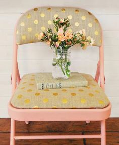 Update a folding chair with soft pink paint and polka dots.