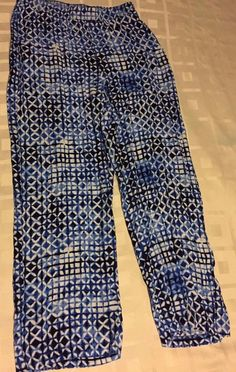 JM Collection Blue White Geometric Pull On Elastic Waist Casual Pants Petite PM  #JMCollection #CasualPants