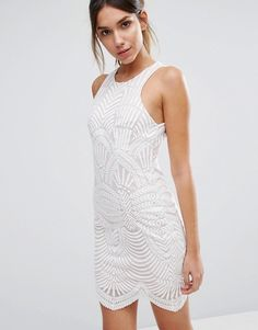ASOS Love Triangle Art Deco Lace Mini Dress