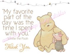 Pink Classic Winnie the Pooh Thank You Card by pdotprintables