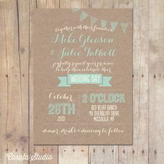 Rustic Kraft Wedding Invitation Mint Peach Bridal by casalastudio
