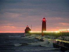 Grand Haven at night