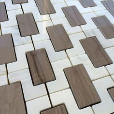 Arabescato Marble Calacatta Marble and Athens Gray Marble Mix Interlock Mosaic Tile $39.95 allmarbletiles.com
