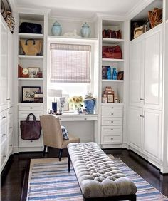 Closed storage in your dressing room? Crisp white cabinetry lines the walls of the master suite's dressing area in the Beverly Hills home of retail executives Dave DeMattei and Patrick Wade. Dressing Room Closet, Dressing Room Design, Dressing Area, Closet Bedroom, Master Closet, Dressing Tables, Closet Office, Closet Bench, Dressing Table Under Window