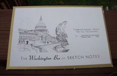 Vintage Box of 10 Note Cards Charles H. Overly Sketch Notes Washington DC