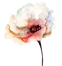 Decoratieve bloem, aquarel illustratie