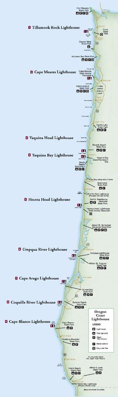 Oregon lighthouse map