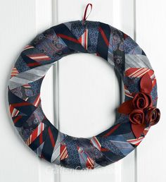 Elegant repurposing: How to make a wreath from old ties. CraftsnCoffee.com.