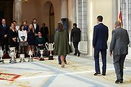 Queen Letizia of Spain, King Felipe VI of Spain, King Juan Carlos of Spain, Queen Sofia of Spain attend National Sport Awards 2016 at Royal Palace of El Pardo on February 19, 2018 in Madrid, Spain.