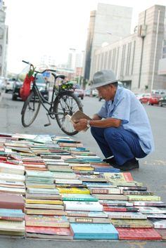 Books sold on the street of Zhangjiakou, China and my favorite from NY streets...