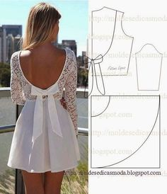 Moda veztidos back is the open Deniz Read on to find out how you can easily sew a patch onto a leather jacket. Sewing with leather does not differ much from that of. Sewing Dress, Dress Sewing Patterns, Diy Dress, Sewing Clothes, Clothing Patterns, Lace Dress, Fashion Sewing, Diy Fashion, Ideias Fashion