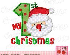 My 1st Christmas Applique 02- Christmas Embroidery Design-Santa Claus Design-4x4 5x7 6x10-Machine Embroidery Applique Design