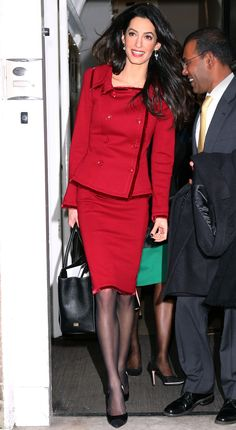 Amal Clooney Knows the Right Way to Wear a Red-Hot Color to Work from InStyle.com