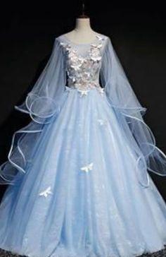 Cape sleeve light blue ball gown prom dresses long f viniodress Vintage Ball Gowns, Blue Ball Gowns, Ball Gowns Prom, Ball Gown Dresses, Prom Dresses Blue, Pretty Dresses, Homecoming Dresses, Beautiful Dresses, Quince Dresses