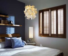 Plantation Shutters are the most luxurious way to dress any window. Wooden plantation shutters made to measure for you. Top quality made to measure wood plantation shutters Bedroom Shutters, Wooden Shutters, Bedroom Windows, Window Shutters, Shutter Images, House Design Photos, Blinds, Living Spaces, Master Bedroom