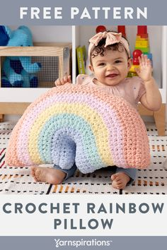 Yarnspirations is the spot to find countless free easy crochet patterns, including the Bernat Crochet Rainbow Pillow. Crochet Pillow Pattern, Easy Crochet Patterns, Crochet Patterns Amigurumi, Crochet Cushions, Crochet Ideas, Crochet Bebe, Cute Crochet, Crochet Crafts, Crochet Projects