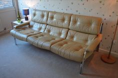 Pieff Alpha Sofa in Ivory Cream Leather & Chrome 1970s Mid Century Vintage Retro