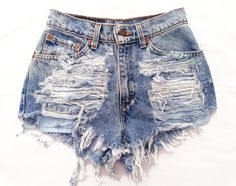 Levis 505 High Waisted Distressed Denim Shorts 29