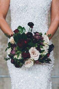 moody wedding bouquets - photo by Ed and Aileen Photography http://ruffledblog.com/dutch-floral-still-life-wedding-inspiration