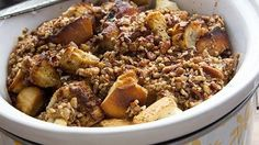 French toast made casserole-like in the slow cooker – perrrrrfect!